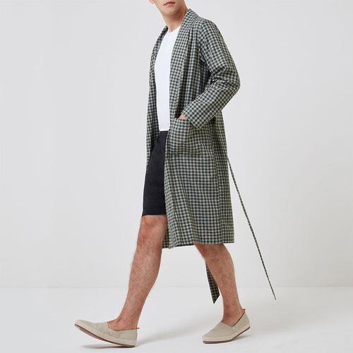 Woven Robe - Olive Check