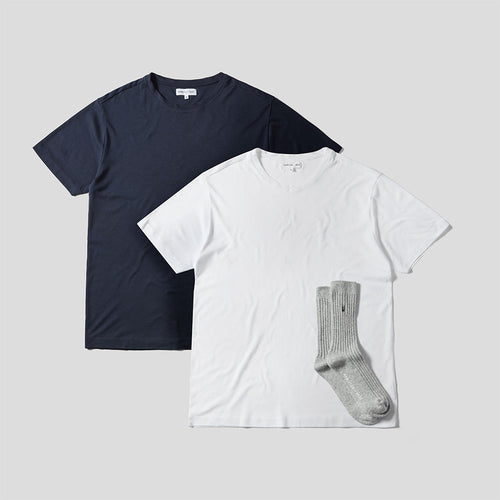 Relax T-Shirt 2 Pack + Sock Set - Navy & White