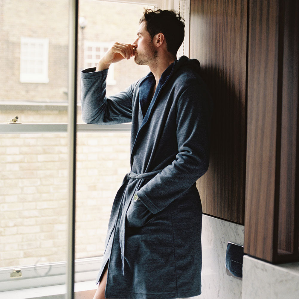Towelling Robe - Navy Stripe - Hamilton and Hare Ltd