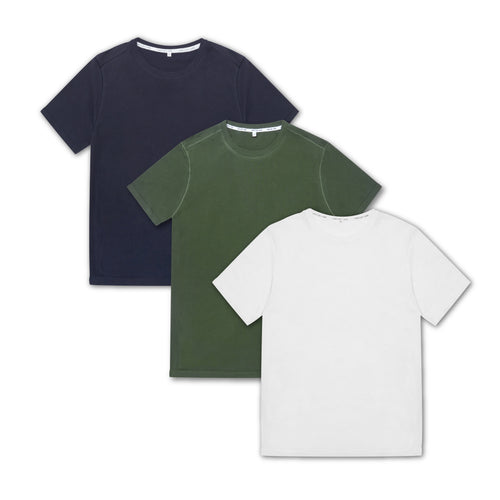 3 Pack Seamless T-Shirt - Navy, Olive Green, White - Hamilton and Hare Ltd