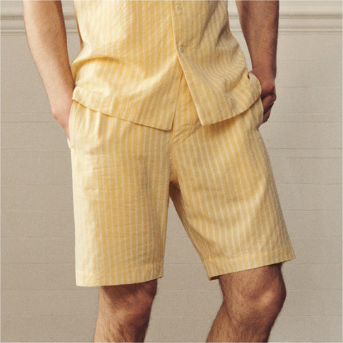 Drawstring Shorts- Limoncello Stripe - Hamilton and Hare Ltd