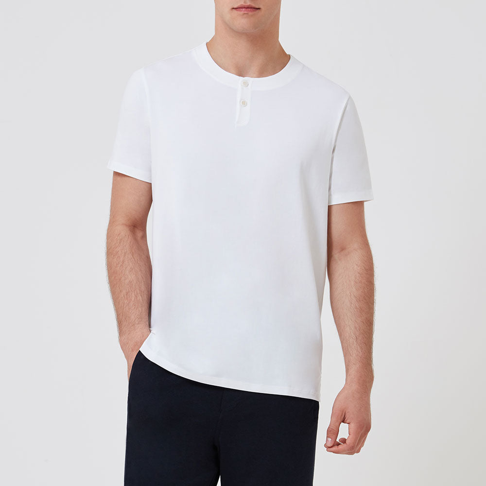 Short Sleeve Jersey Henley White