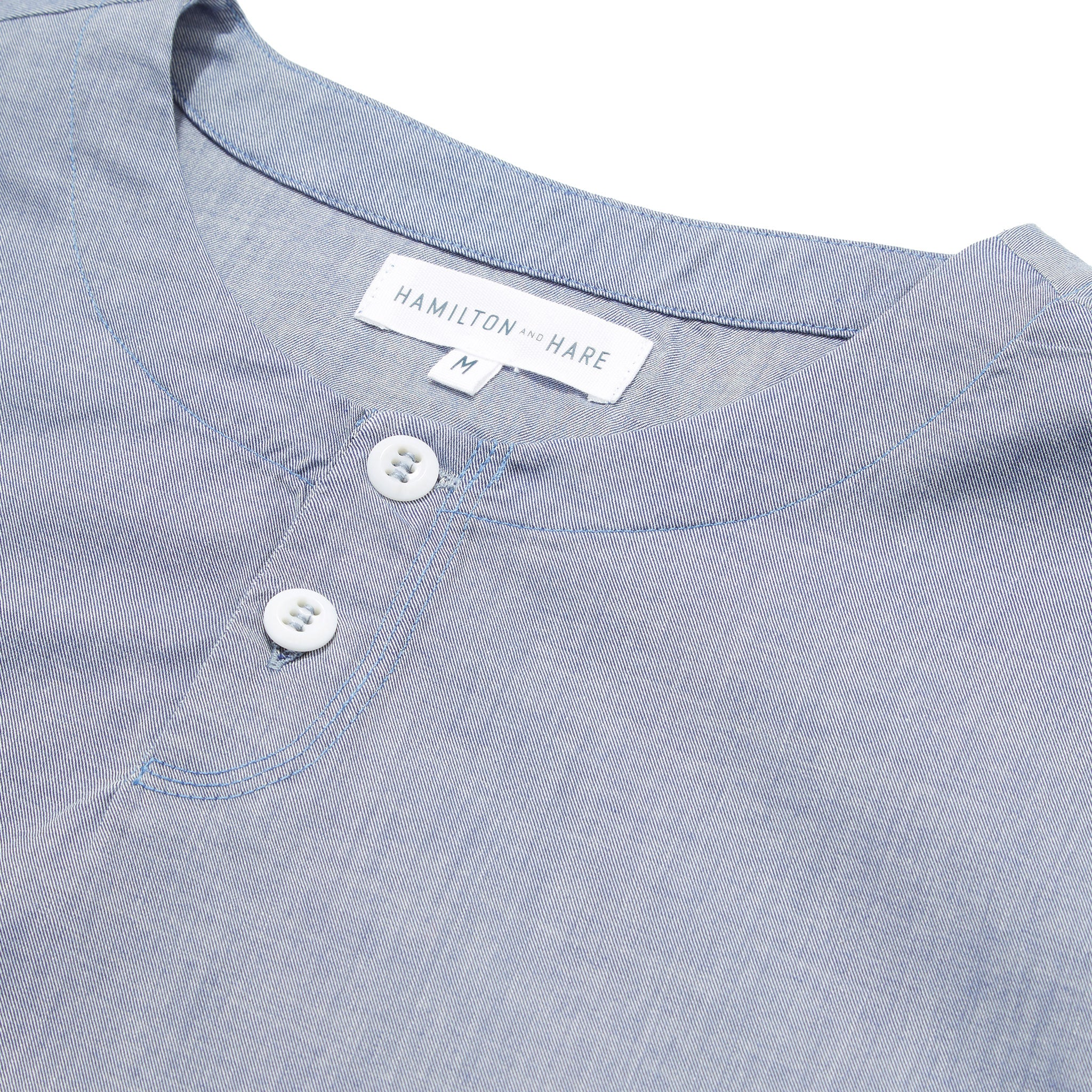 Hamilton and Hare Cotton Cashmere Sleep Shirt Chambray Blue