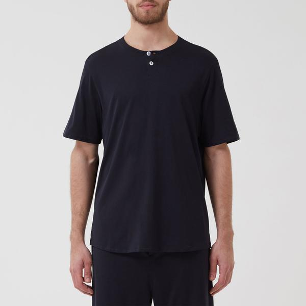 Short Sleeve Jersey Henley Navy