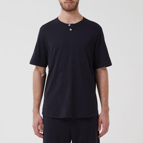 Short Sleeve Jersey Henley - Navy - Hamilton and Hare Ltd