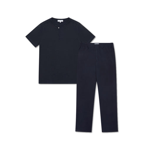 Jersey Sleep Set - Short Sleeve Top & Trouser - Navy - Hamilton and Hare Ltd