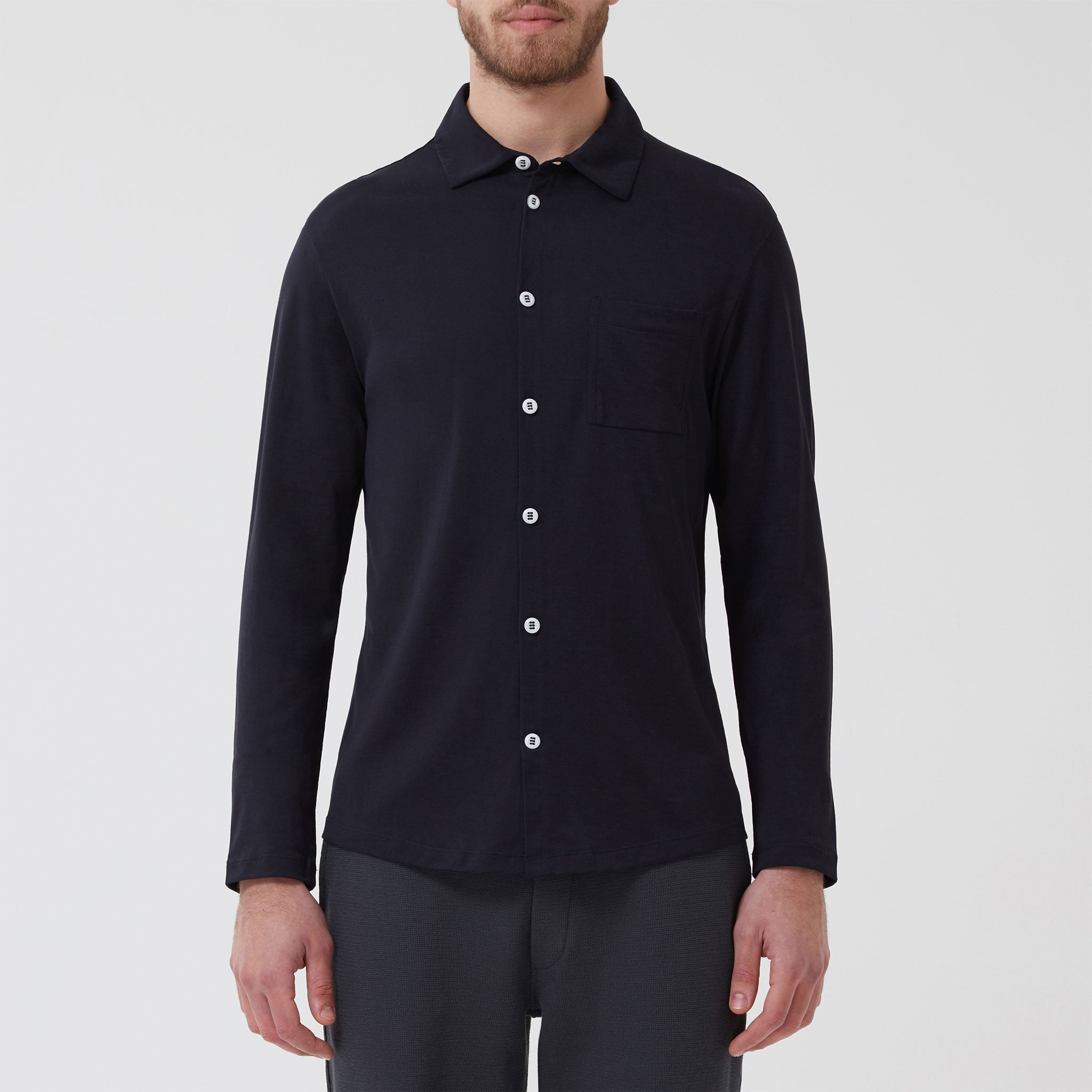 Slip-on Shirt Navy - Hamilton and Hare Ltd