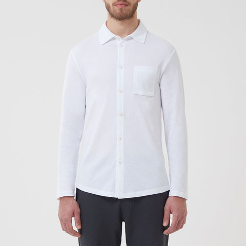 Pique Open Collar Shirt - White