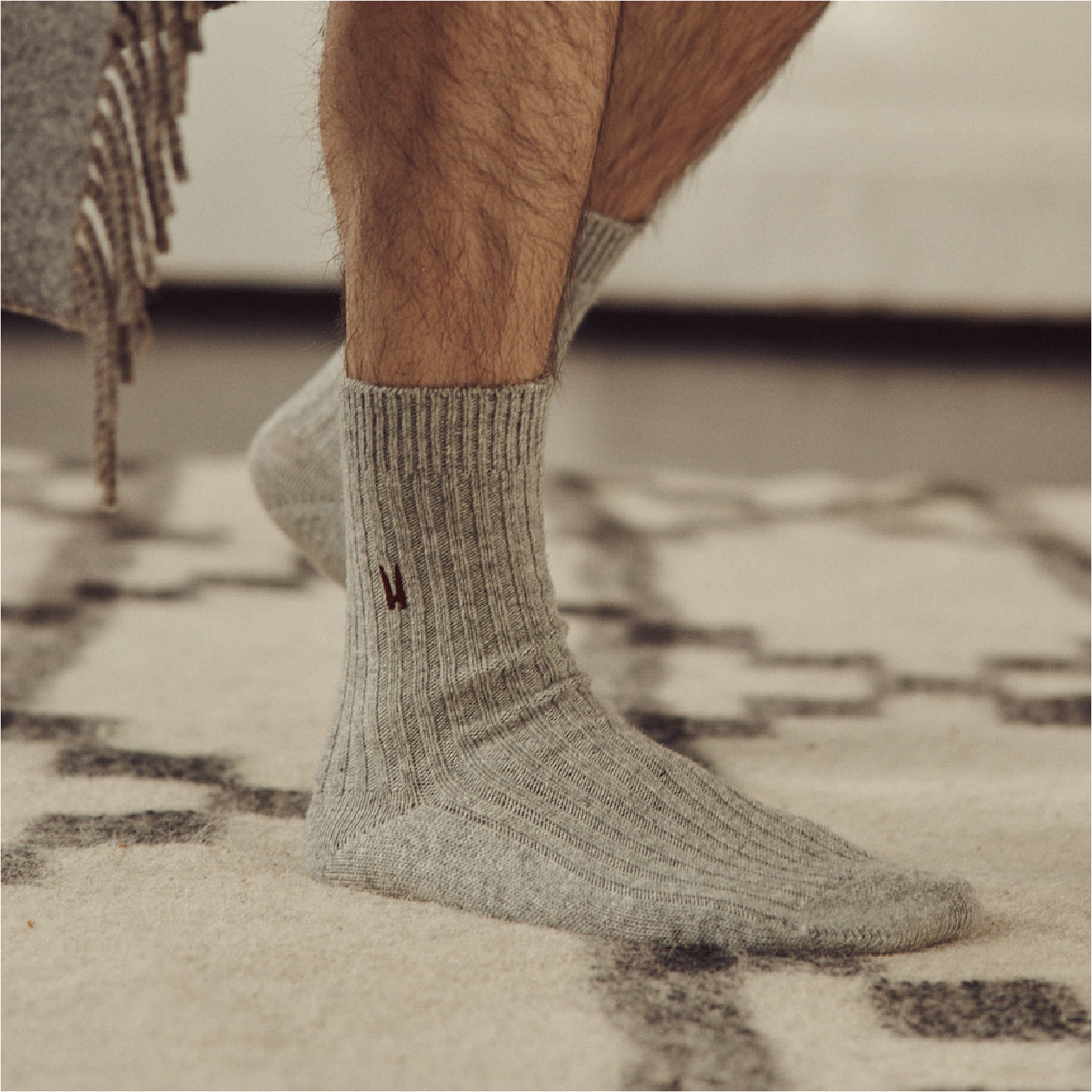 3 Pack Lounge Sock - Grey Melange - Hamilton and Hare Ltd