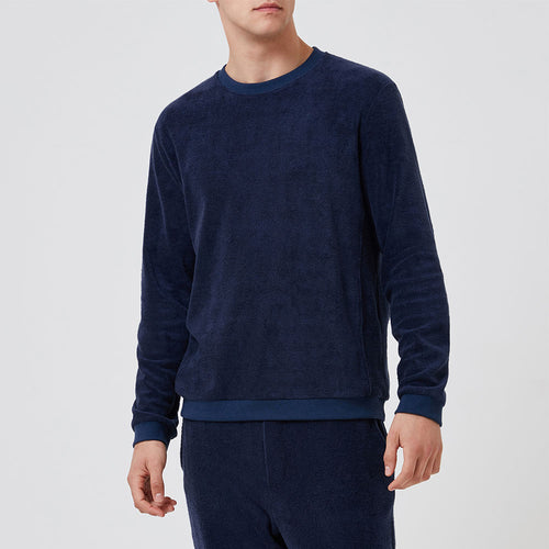Terry Towelling Sweatshirt - Navy - Hamilton and Hare Ltd