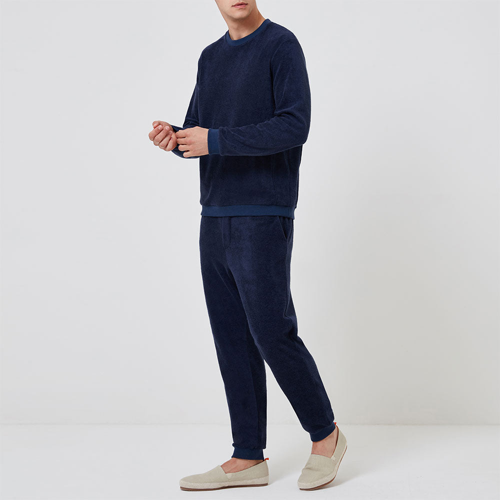 Terry Towelling Sweatshirt - Navy Terry