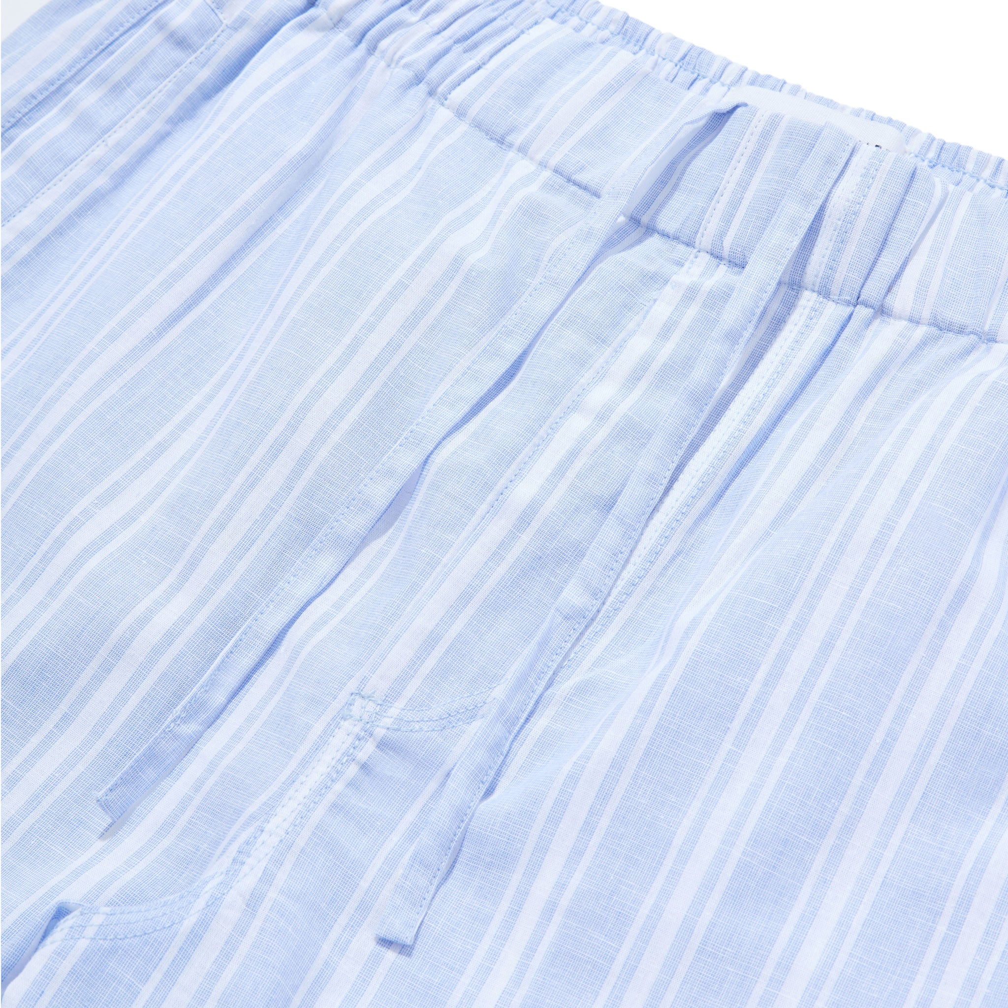 Timeout Drawstring Linen-Cotton Short - Blue Stripes - Hamilton and Hare Ltd