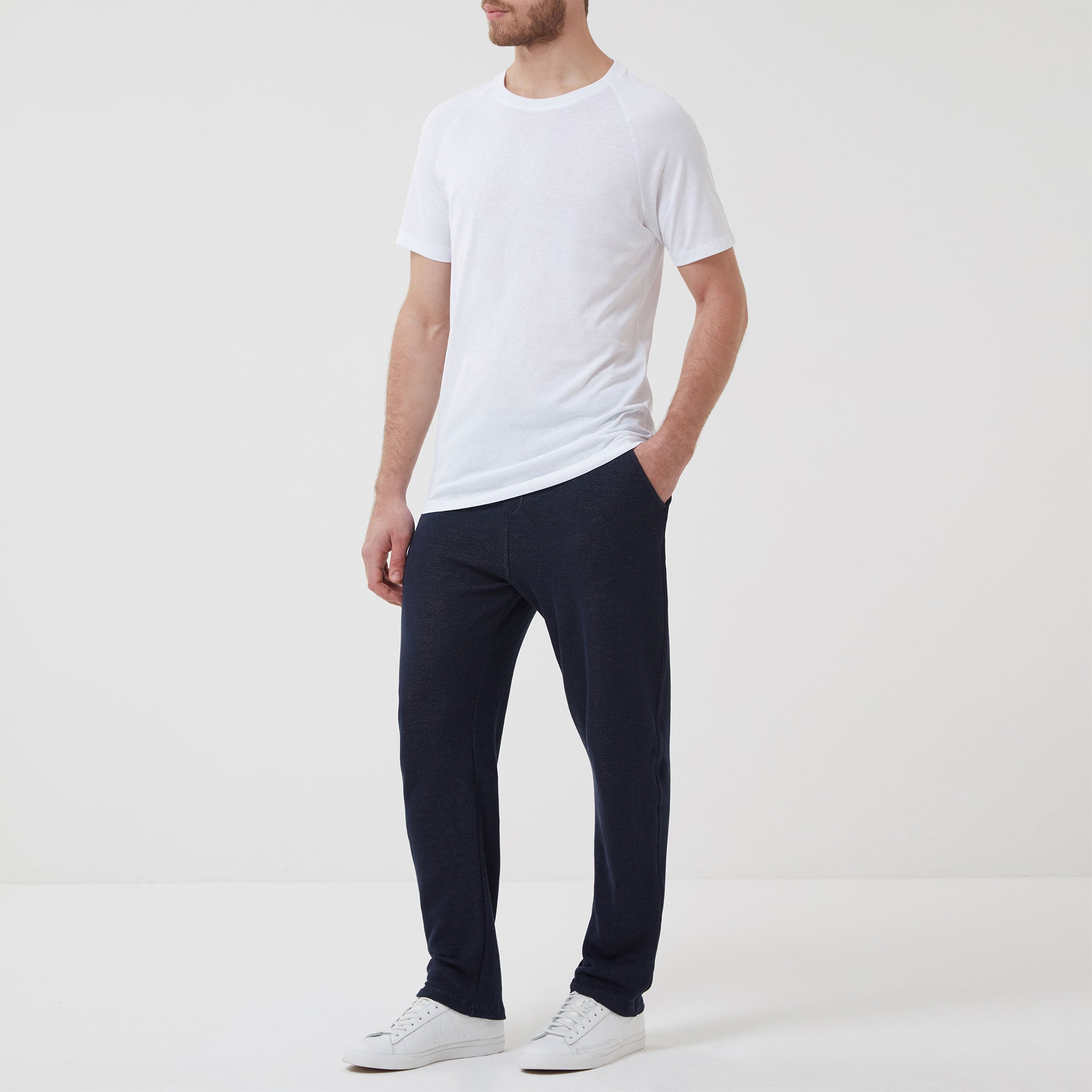 Navy Cotton and Linen Timeout Trousers Hamilton & Hare KgnKtoY