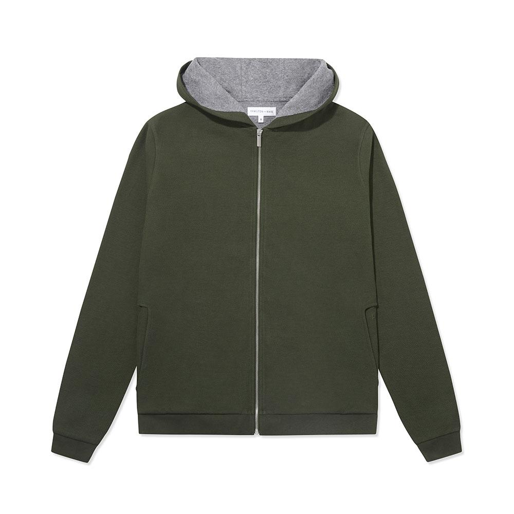 Towel-Lined Hood - Olive Texture - Hamilton and Hare Ltd