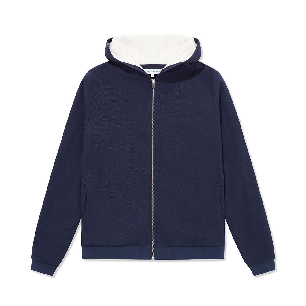 Towel-Lined Hood - Navy Texture / White - Hamilton and Hare Ltd