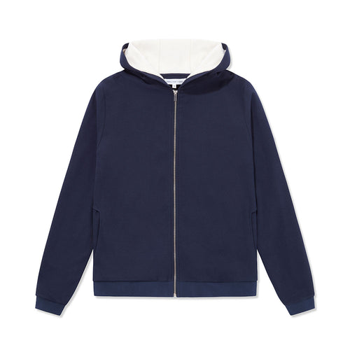 Towel-Lined Hood - Navy Texture / White