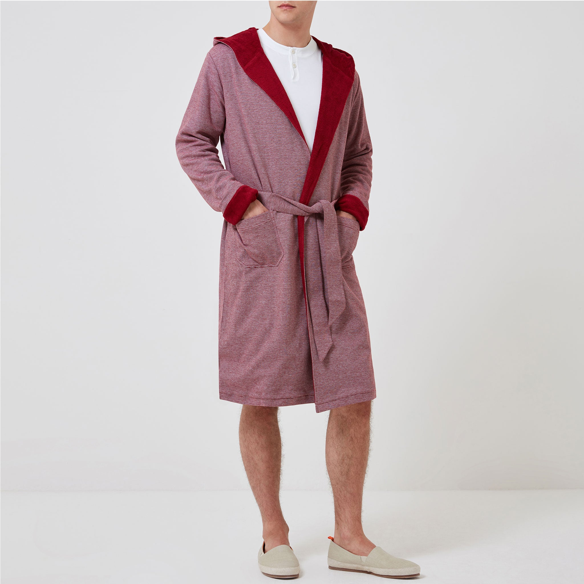 Personalised Towelling Robe - Red Stripe - Hamilton and Hare Ltd