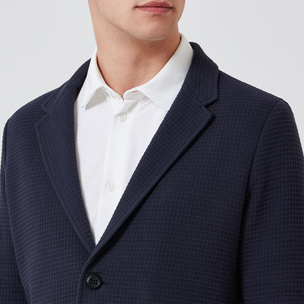 Travel Blazer - Navy Waffle - Hamilton and Hare Ltd