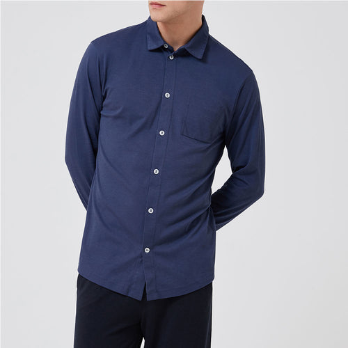 Slip-on Shirt - Lisbon Blue - Hamilton and Hare Ltd
