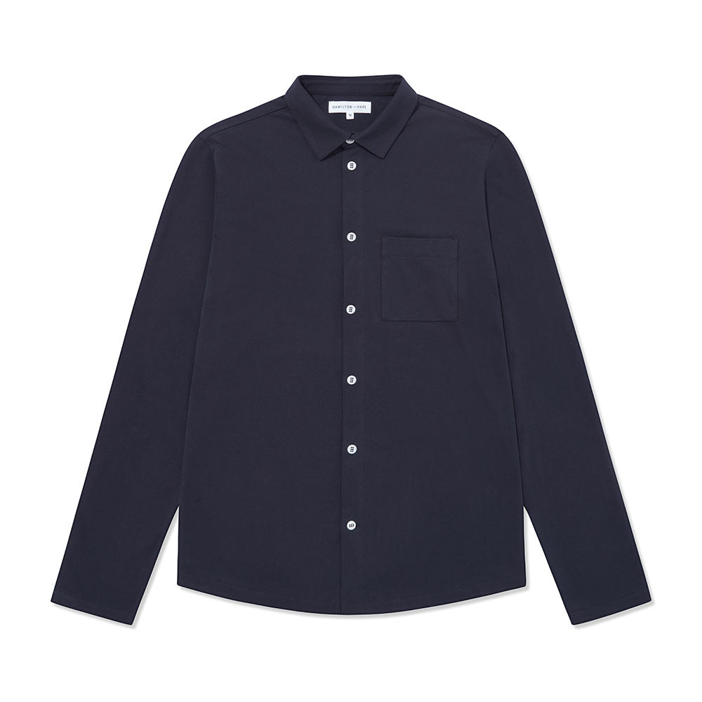 Pique Travel Shirt 2 Pack - Navy - Hamilton and Hare Ltd