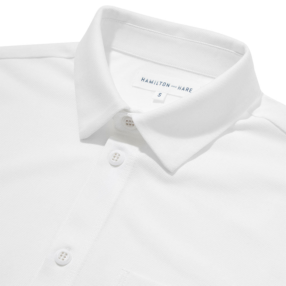 Pique Travel Shirt 2 Pack - White - Hamilton and Hare Ltd