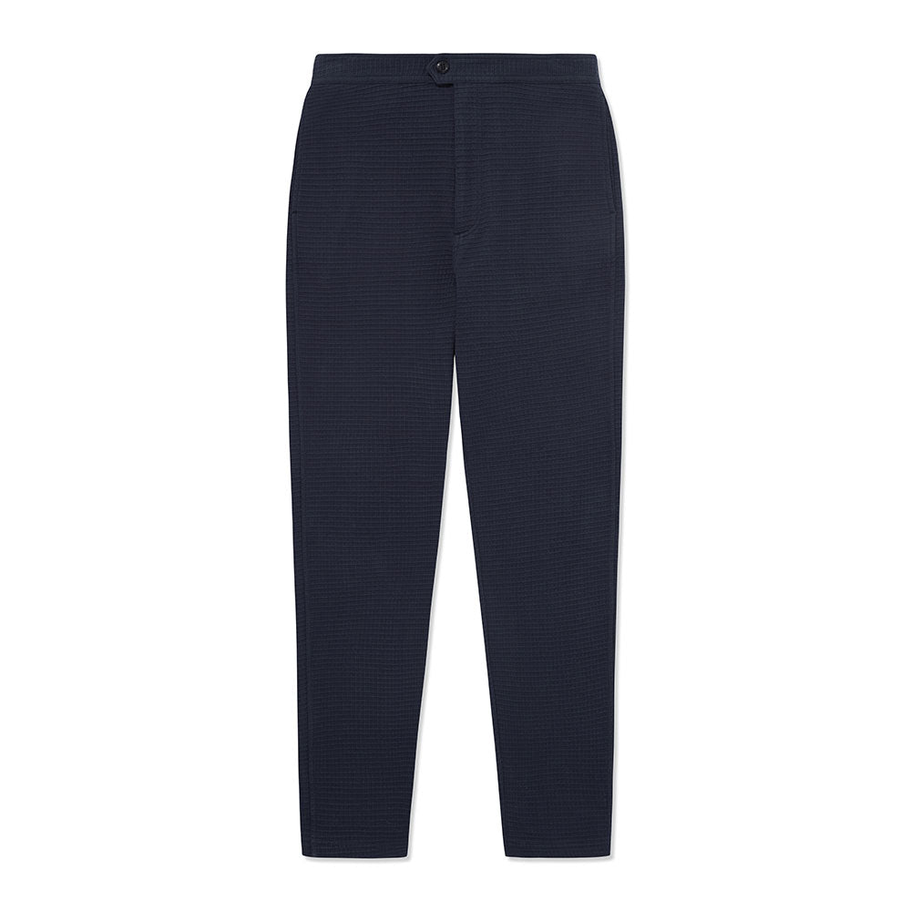 Travel Trouser - Navy Waffle - Hamilton and Hare Ltd