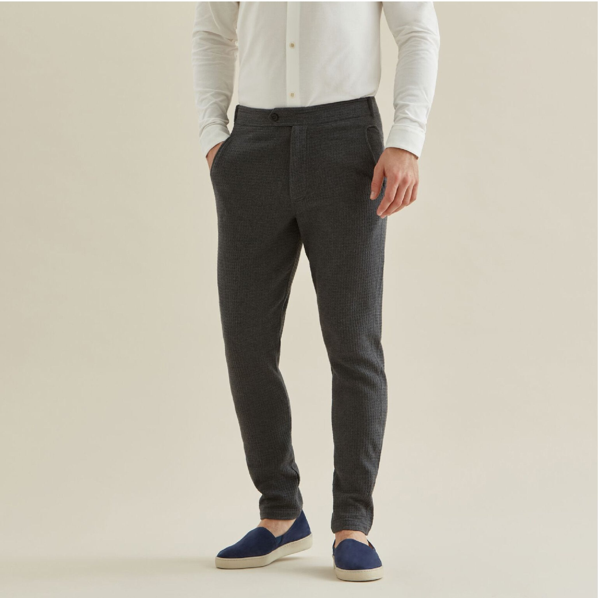 Travel Trouser - Charcoal Waffle - Hamilton and Hare Ltd