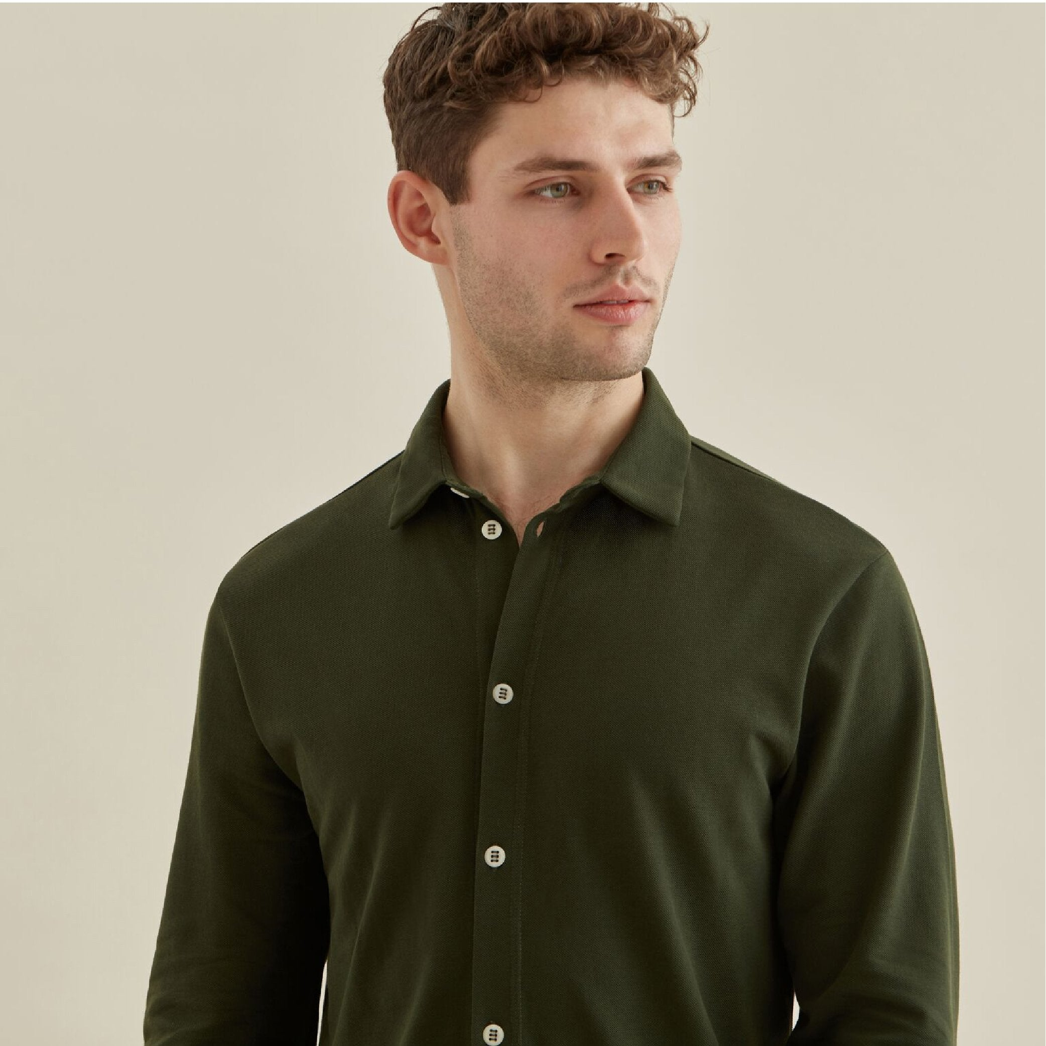 Pique Travel Shirt - Olive - Hamilton and Hare Ltd