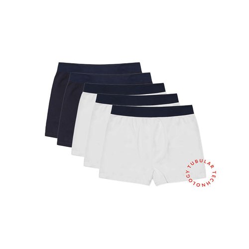 Working Week 5 Pack Navy & White Tubular Trunks