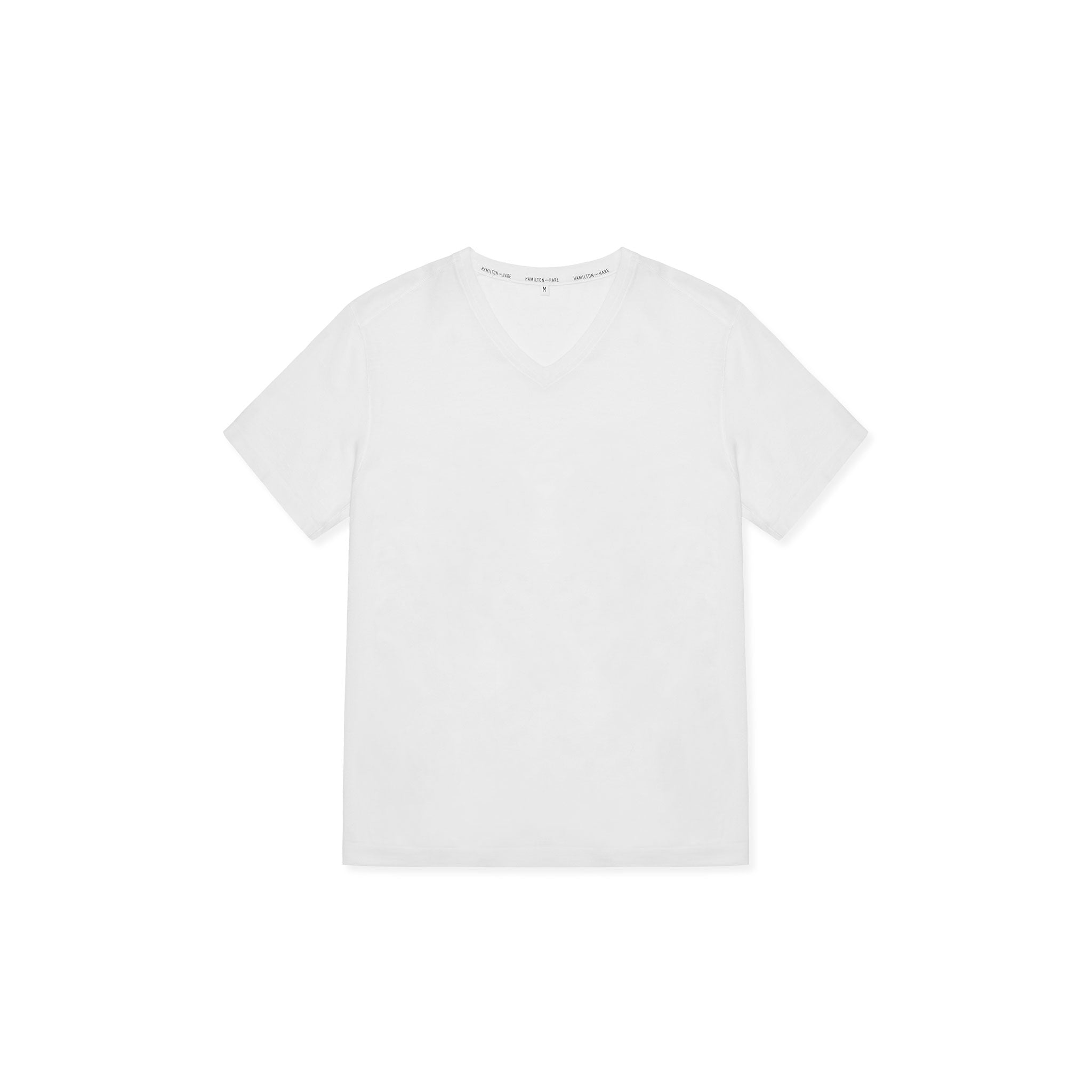 Hamilton and Hare Tubular V-Neck Tee White