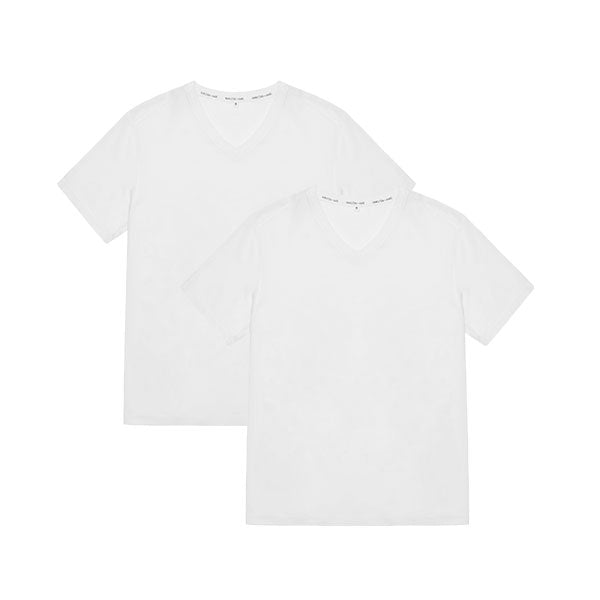 Tubular V-Neck Tee 2 Pack White