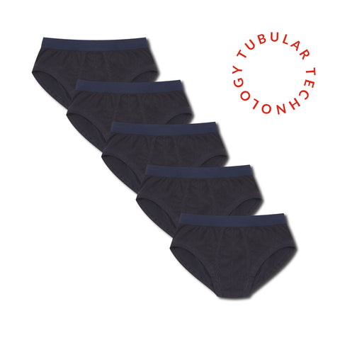 Tubular Crew Neck 5 Pack Navy