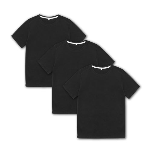 Tubular Crew Neck 3 Pack Black