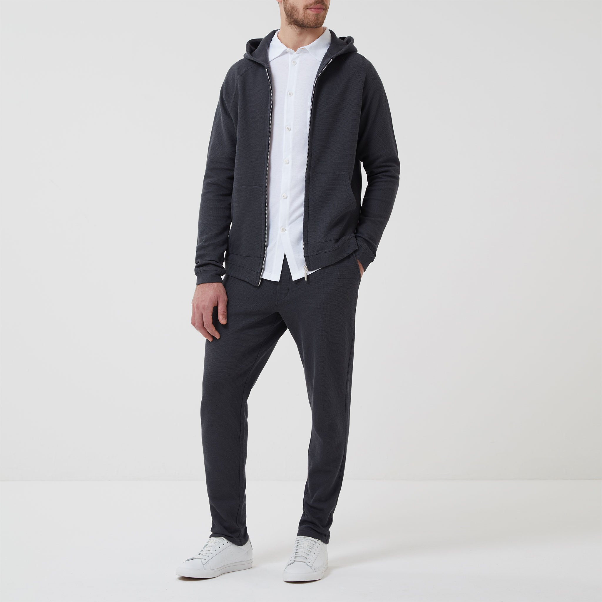 Hamilton and Hare Waffle Hooded Travel Jacket Charcoal