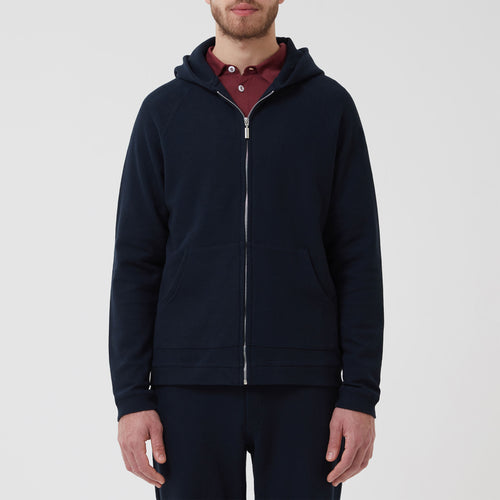Hamilton and Hare Waffle Travel Hooded Jacket Navy