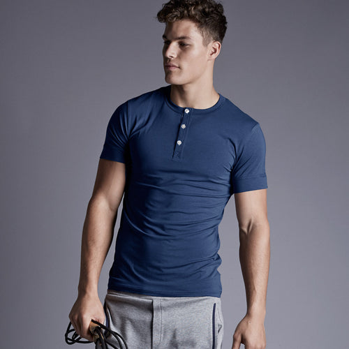 Luxury men's loungewear by Hamilton and Hare. Super soft stretch Jersey Riviera Blue Henley Tee.