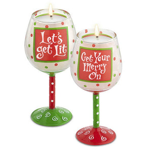 Holiday Merry Mini Wine Glass Candles