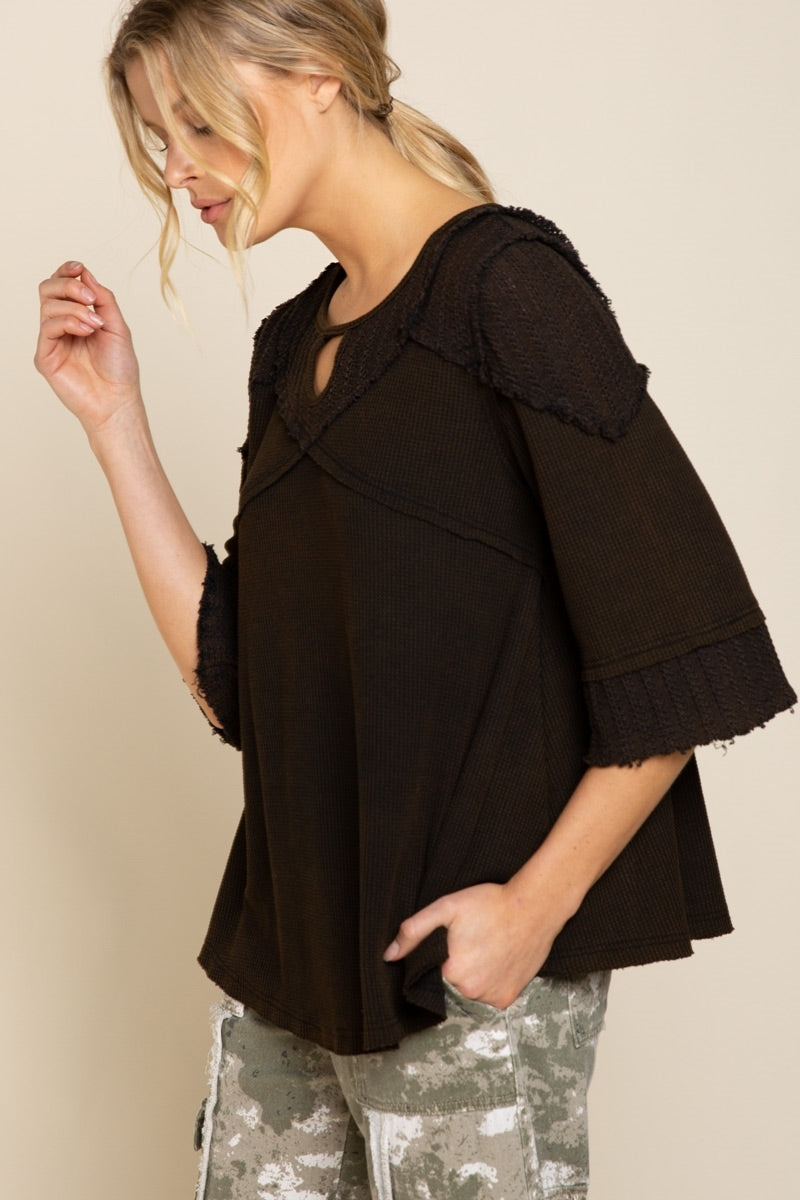Back Slit Key Hole Knit Top