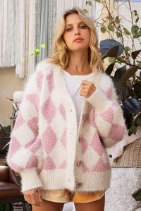 Pink and Cream Argyle Cardigan