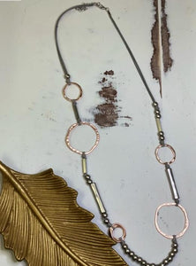 Corded Beads & Circle Necklace