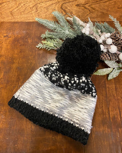 Black & Gray Wool Blend Hand Knit Hat