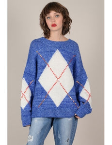 Embellished Argyle Sweater