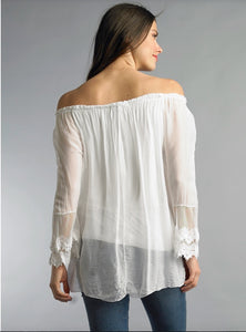 Embroidered & Lace Top