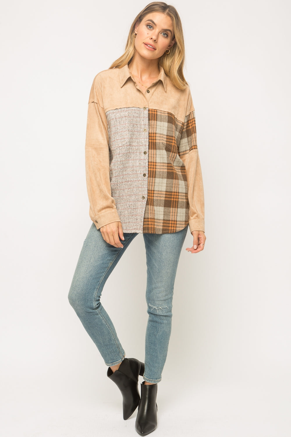 Check Mixed Suede Shirt