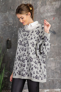 Get Cozy Leopard Pattern Knit Sweater