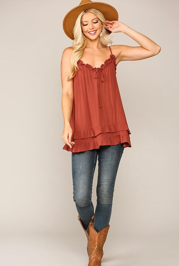 Double Layered Hem Ruffled Cami Top with Adjustable Straps