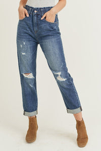 Elastic Waistband Distressed Mom Jeans