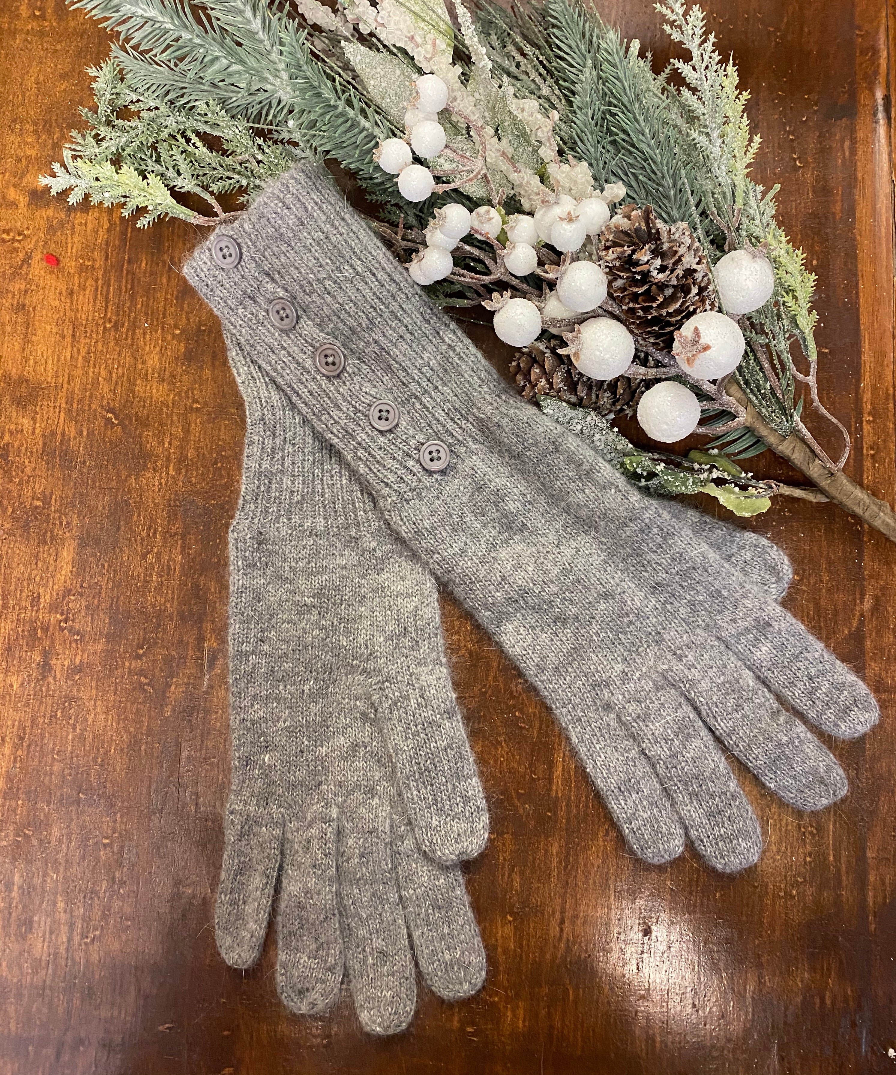 Wool Blend Side Button Gloves