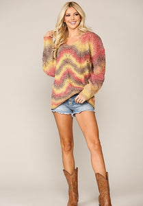 V-Neck Ombre Sweater Knit Top with Long Sleeves