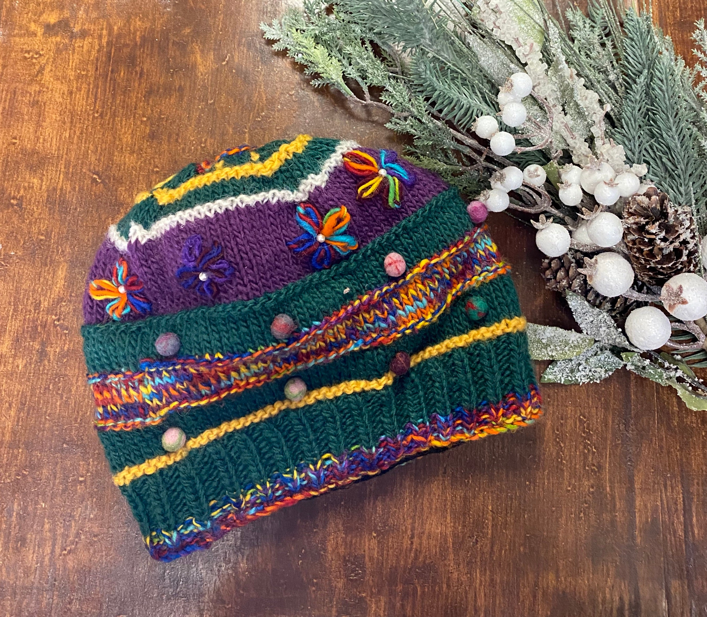 Hand Knit Multi Color Hat